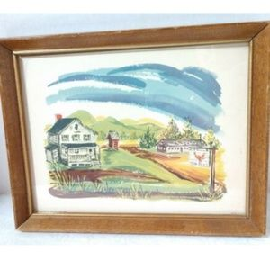 Other - Vintage Framed Donald Art Print Country House USA